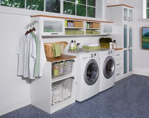 Contemporary Laundry Room Organization Ideas Involving A Set Of Machines For Laundry And Shelves For Storage