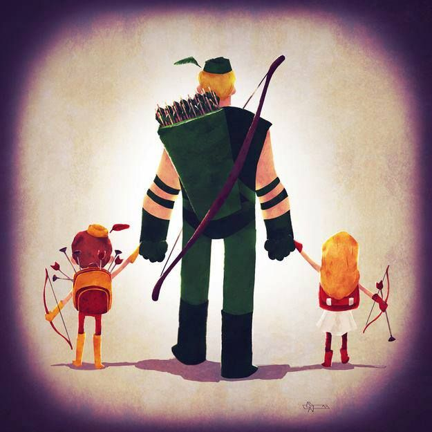 Green Arrow enjoys fatherhood, in fine art, by Andry Rajoelina. Awww.