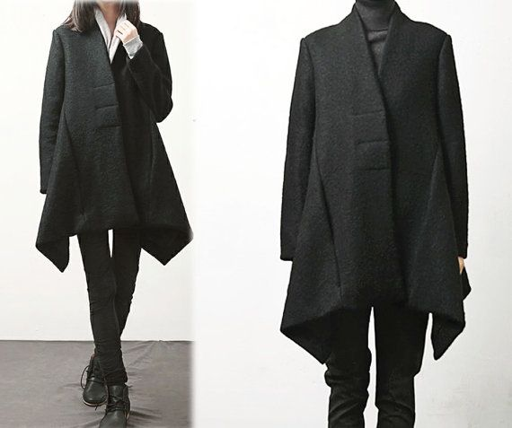 Boiled Wool Black Trapeze Coat, A-line Winter Swing Coat, Maternity Wool  Coat, Simplicity Poncho Coat, Made to Measure.