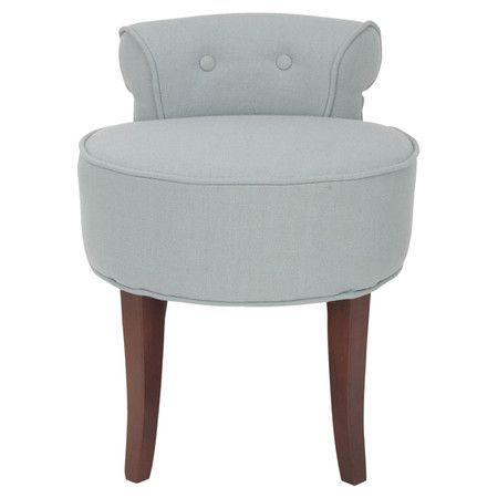 Vanity Stool With Linen Inspired Upholstery And A Small Tufted