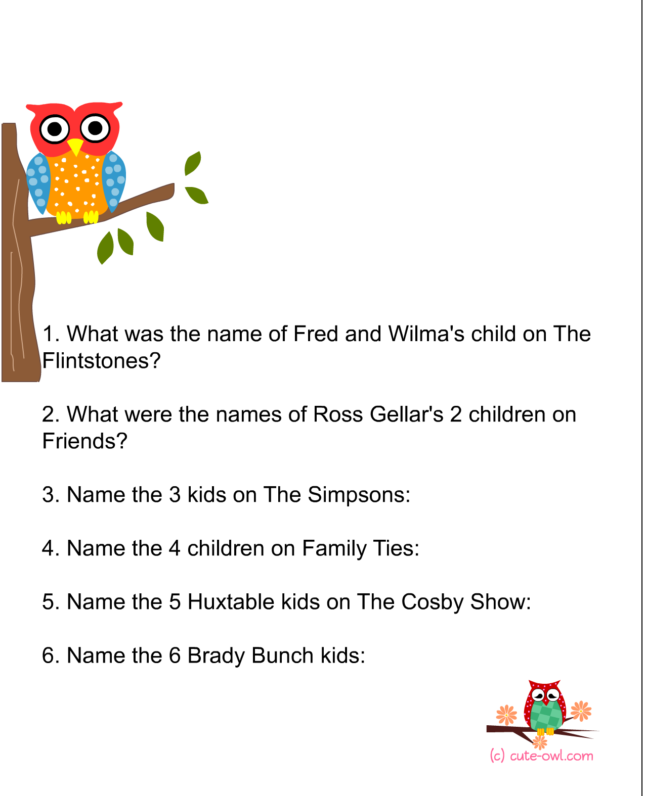 Name The Celebrity Babies Owl Themed Baby Shower Game