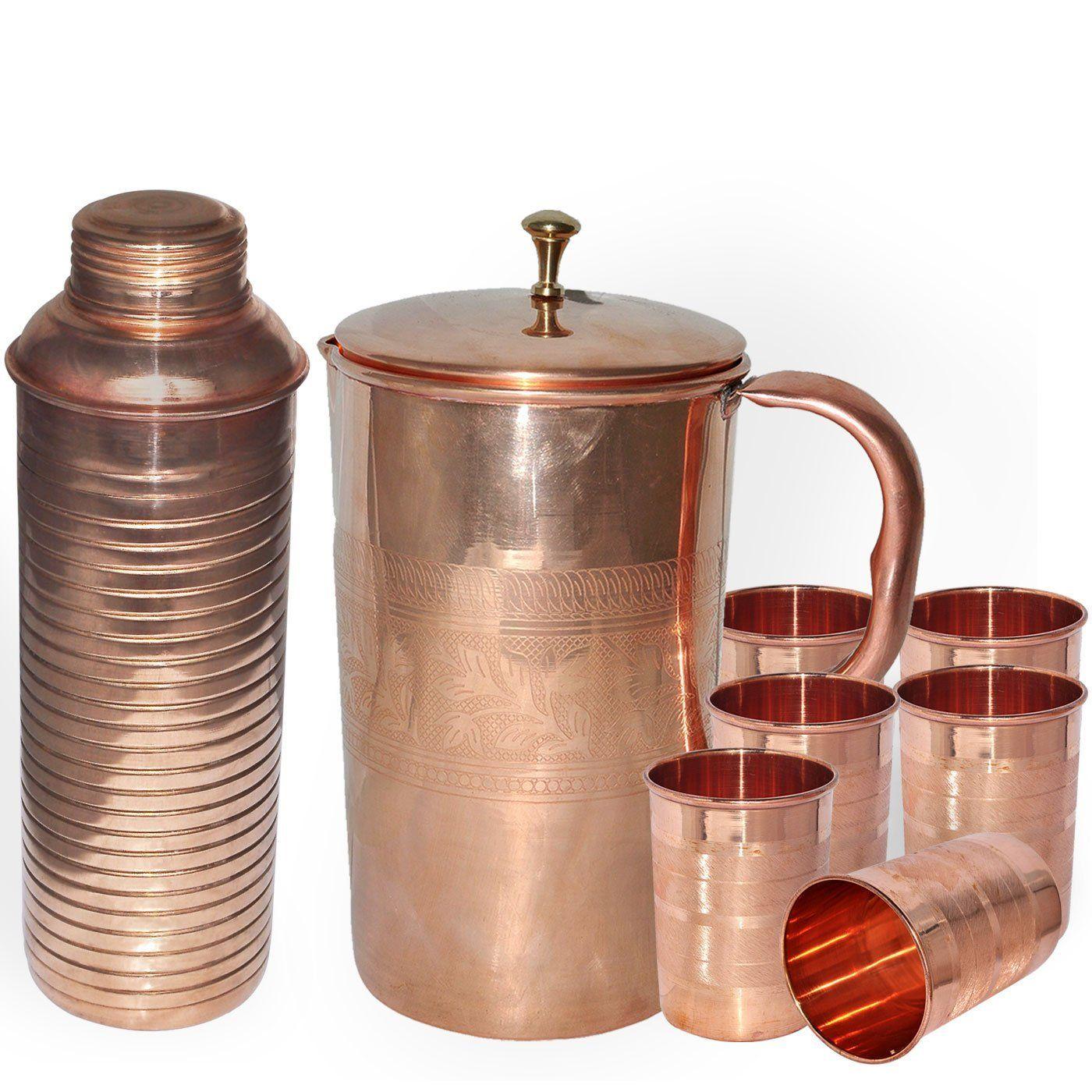 Buy DakshCraft Combo of Handmade Copper Jug, Copper Plain