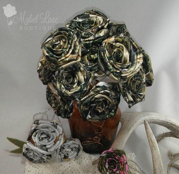 Camo Outdoor Wedding Ideas: True Timber Camo Fabric Flowers, Camouflage Wedding