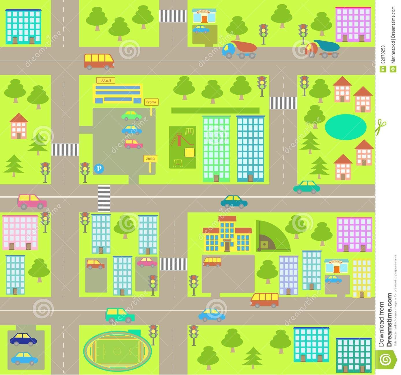 Cartoon Seamless City Map