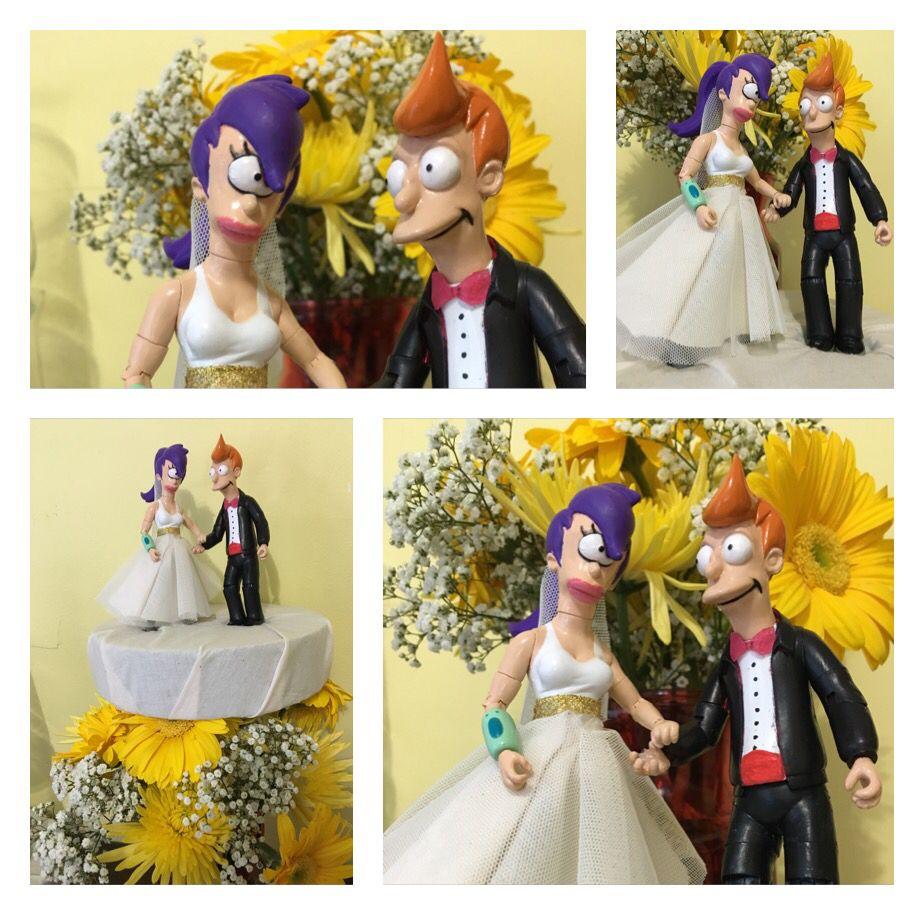Futurama fry and leela wedding cake topper i painted a tux on fry