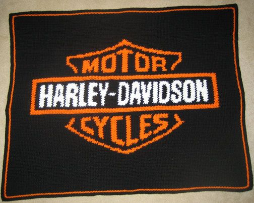 Harley Davidson Hand Made Crocheted Afghan Brand New By
