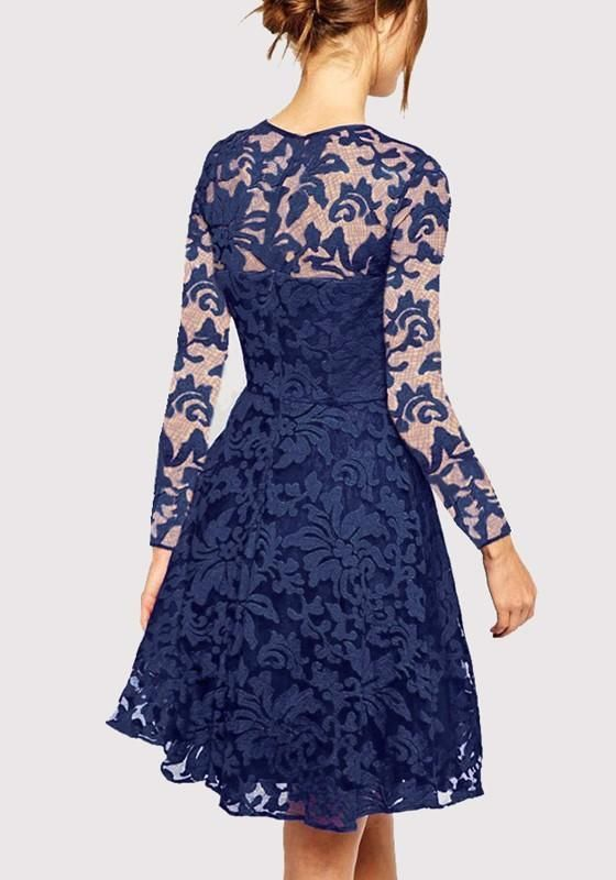8ed13c1caf9f Sapphire Blue Patchwork Lace Draped Long Sleeve Fashion Midi Dress ...