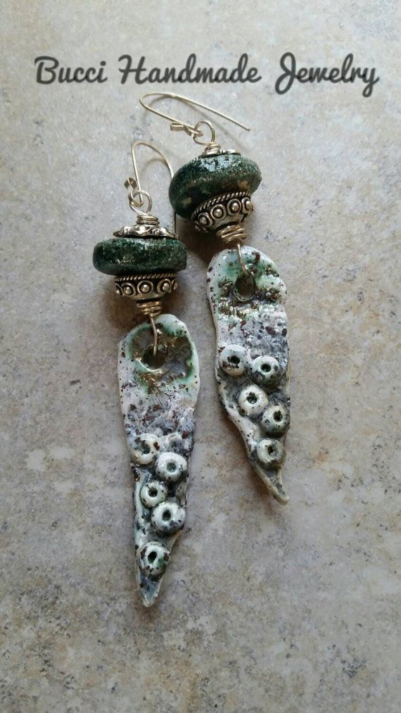 Crusty Grunge Barnacle Artisan Earrings by BucciHandmadeJewelry