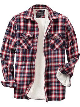 fb726b0cc Men s Flannel Sherpa-Lined Shirt Jackets