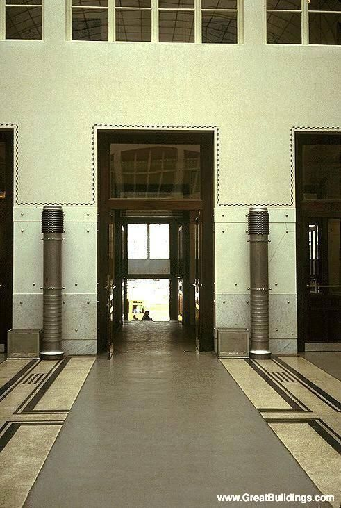 Post Office Savings Bank, by Otto Wagner, at Vienna, Austria, 1904 to 1912.