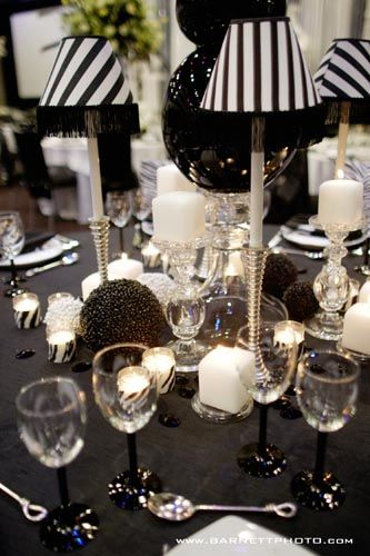 Black And White Party Ideas, Wedding, Table Setting