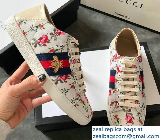 fc70dd7c51f Gucci Ace Leather Low-Top Lovers Sneakers Web Embroidered Bee and Rose Print  2018 2803115322