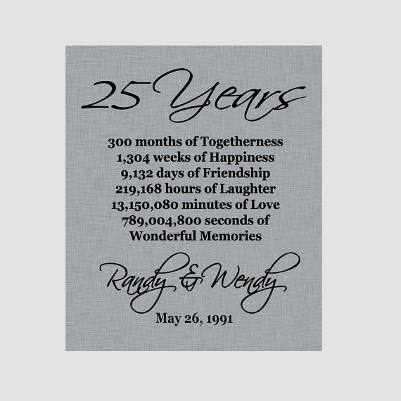 25th Wedding Anniversary Quotes: 25th Anniversary Print Silver Anniversary By