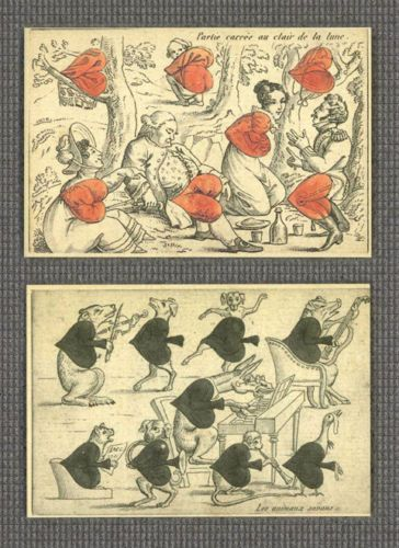 Carte A Rire Gioco Dei Giornali Transformation Playing Cards 1819 Reproduction | eBay