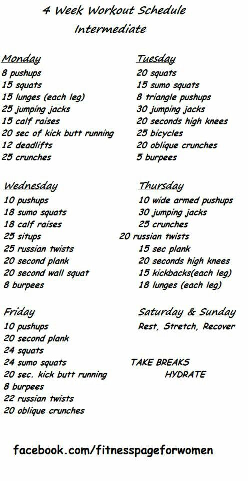 Week Challenge  Intermediate  Health  Fitness Info