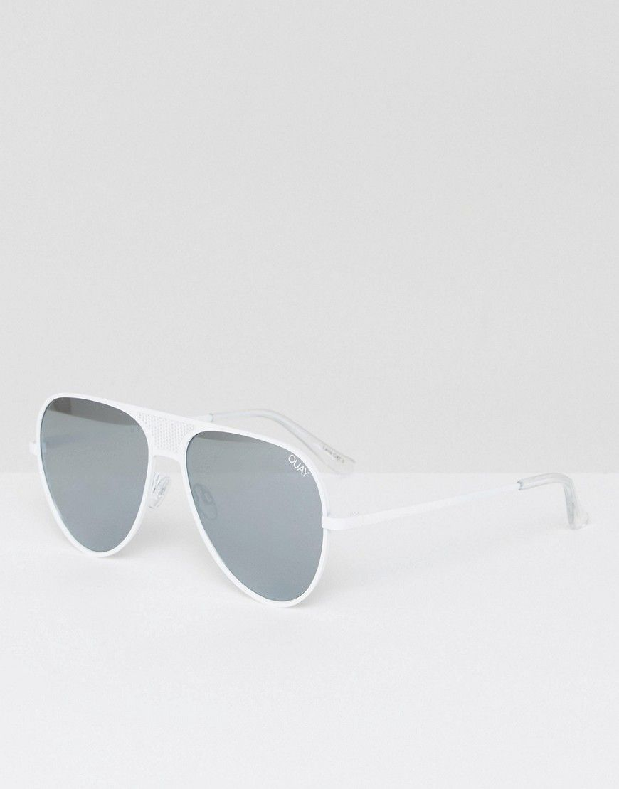 21a2352bed QUAY X KYLIE JENNER ICONIC AVIATOR SUNGLASSES IN WHITE - WHITE.  quay