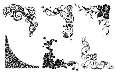 Six Vector Floral Corners Premium Quality Set Of Vector Corners