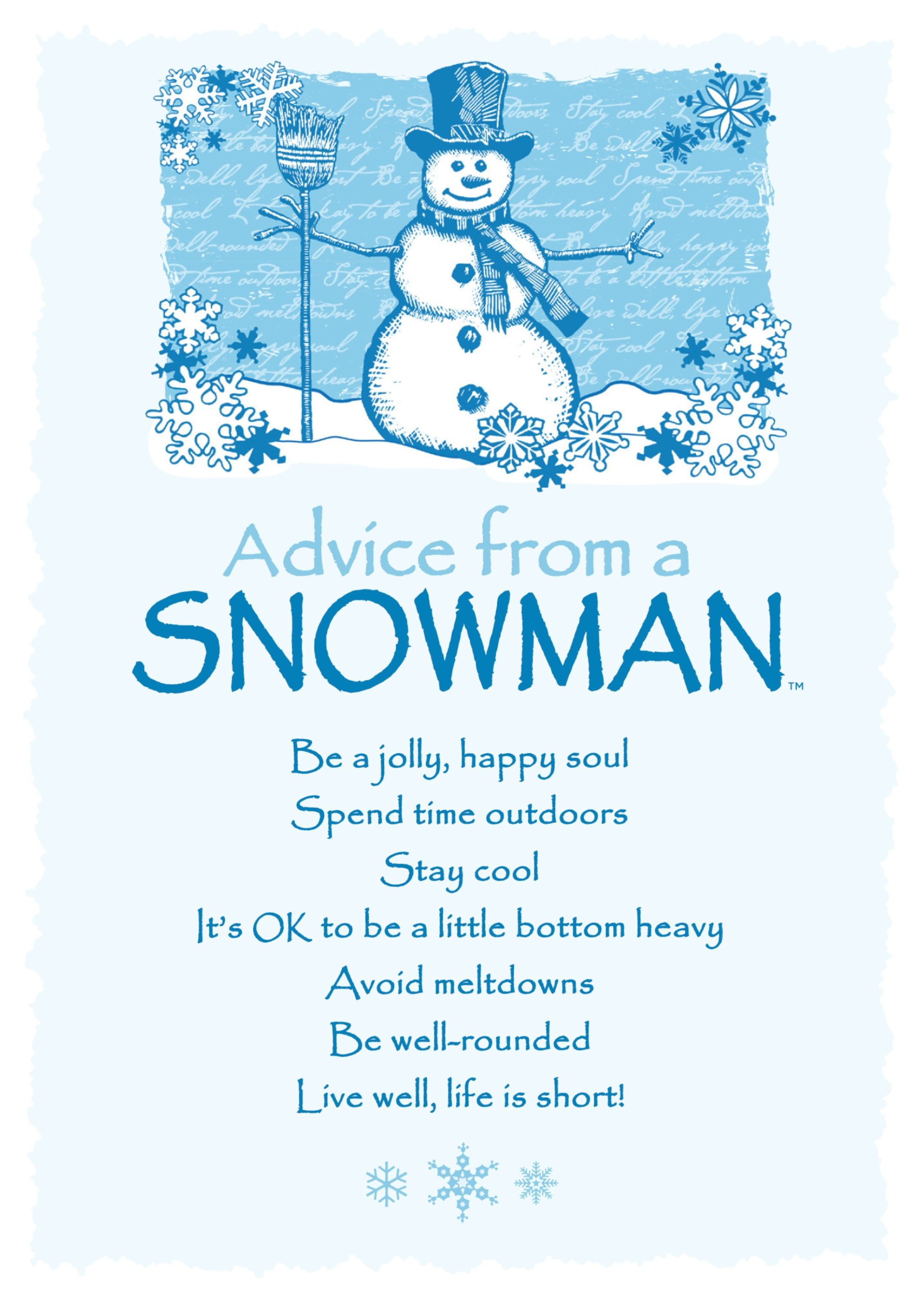 Advice From A Snowman Blank Greeting Card Your True Nature Advice