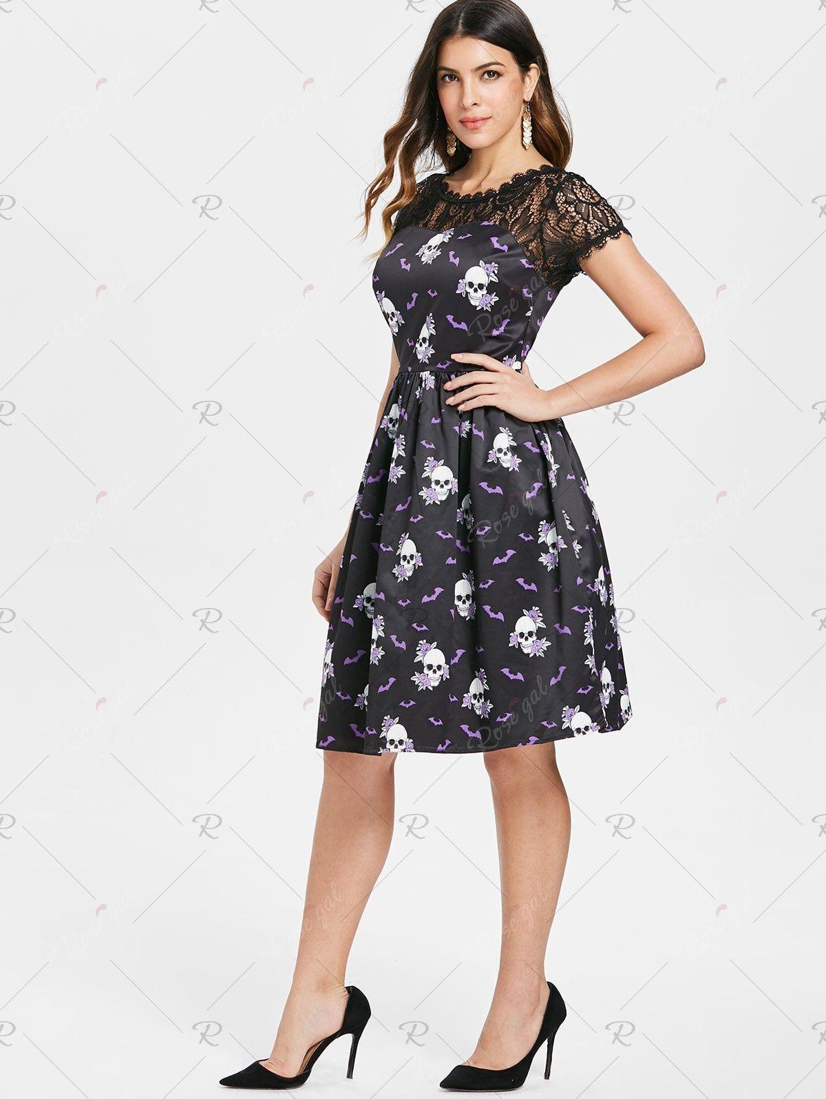 3d53e6857157 Black #Skull #Floral #Print #Halloween Swing #Dress ••• Express your ...