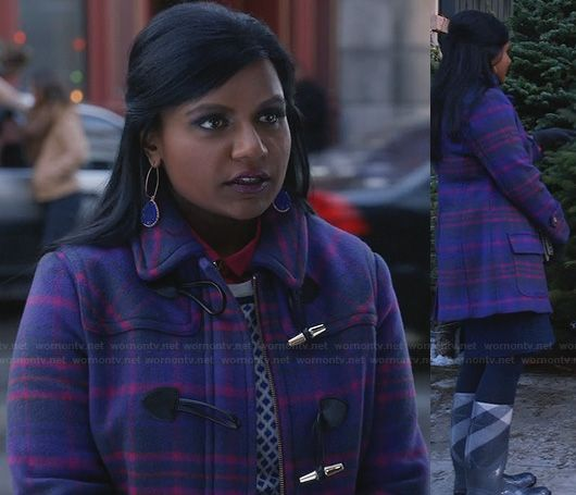 Mindy's purple check duffle coat on The Mindy Project | fashion ...
