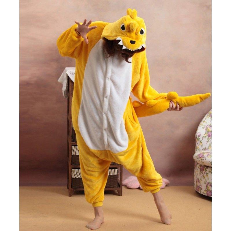 04b711d8dd ... anime costumes factories. Adult Unisex Yellow Dinosaur Onesies Kigurumi  Pajamas Pyjama