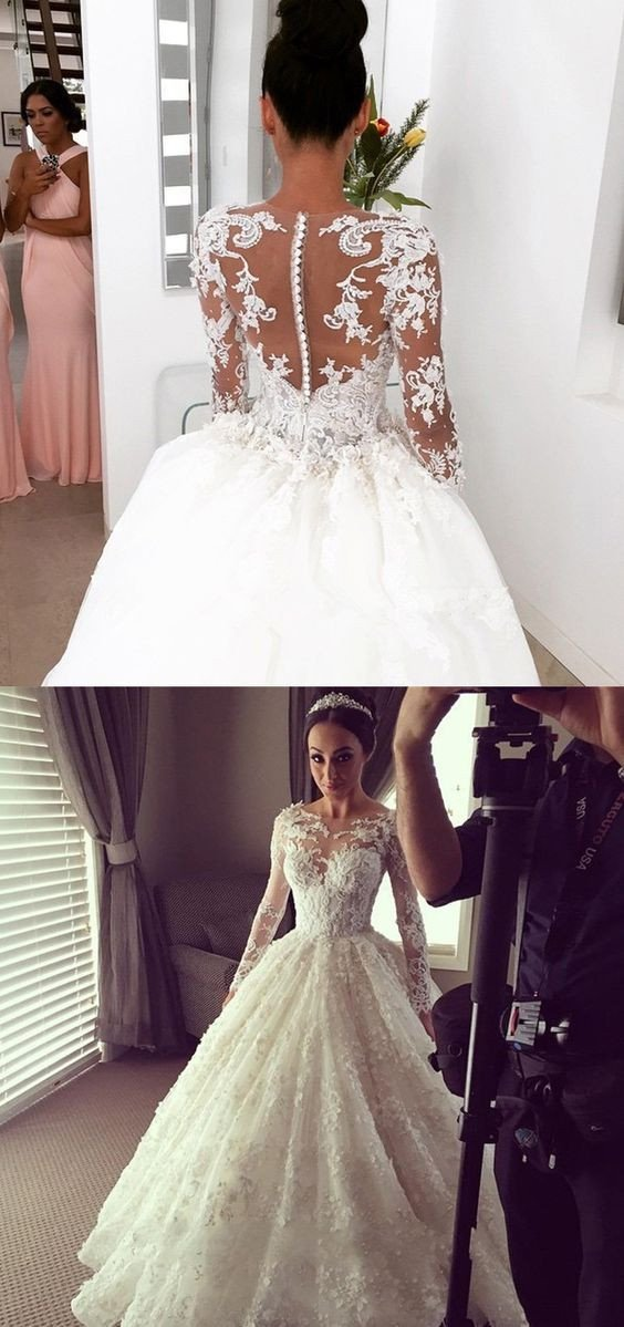 Princess Long Sleeve Lace Wedding Dress Cinderella Wedding Dress With Sleeves Ws082 In 2020 Long Sleeve Bridal Gown Wedding Gowns Lace Dusty Pink Bridesmaid Dresses