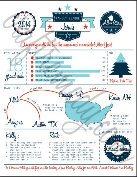christmas newsletter year in review infographic templates