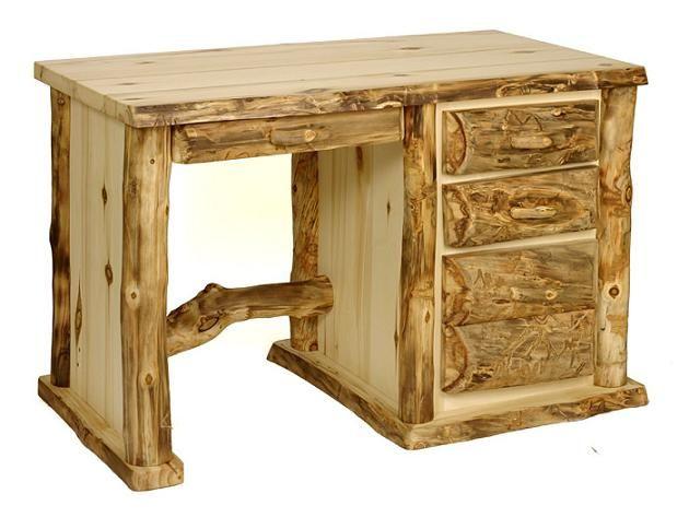 Kodiak Aspen Student Desk Log Furniture Rustic Wood Decor Rustic Wood Furniture