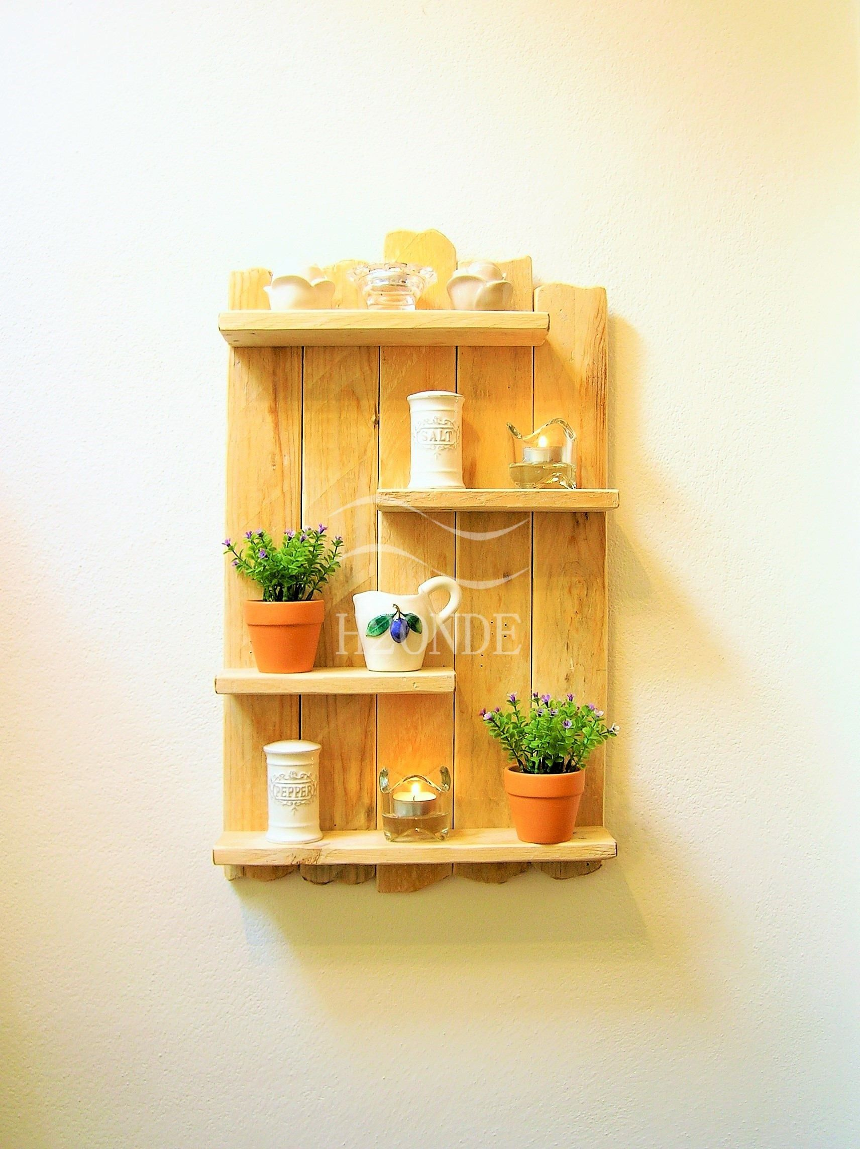 Pallet wood shelf reclaimed shelves bathroom driftwood wall decor ...