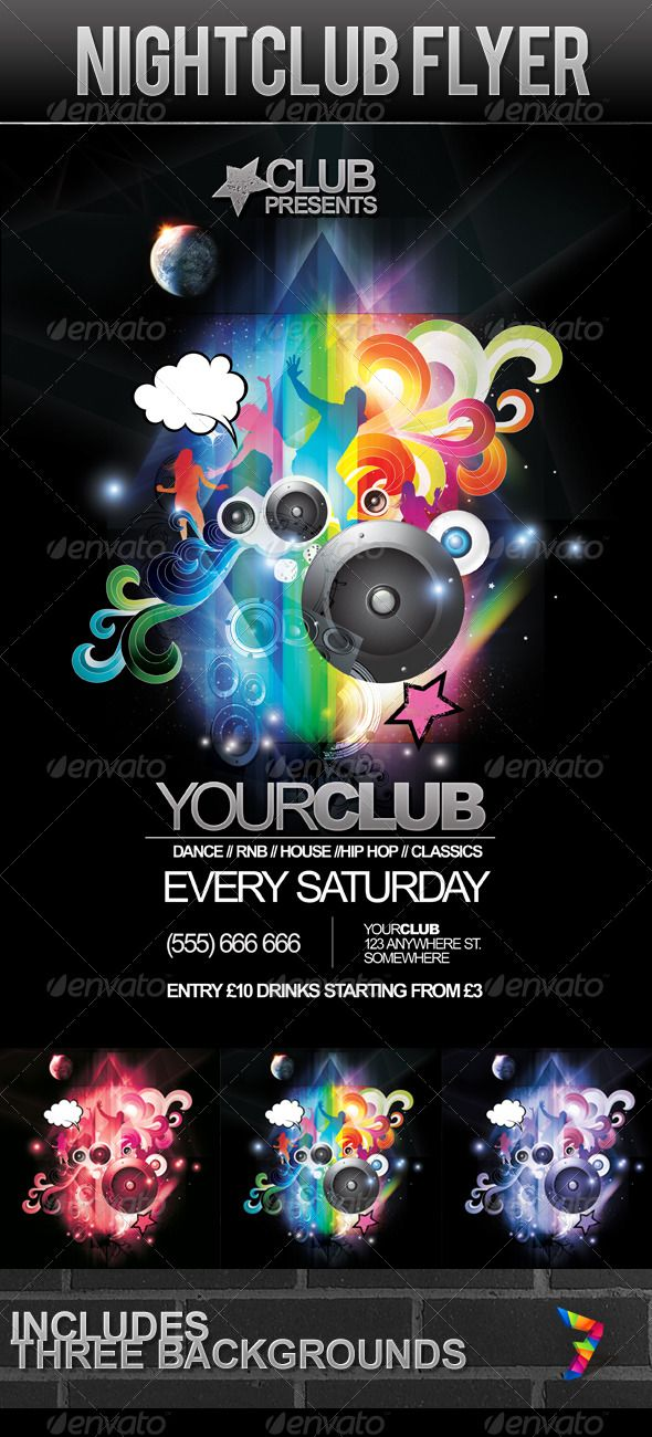 Night Club Party Flyer #GraphicRiver Night Club Party Flyer. A4 ...