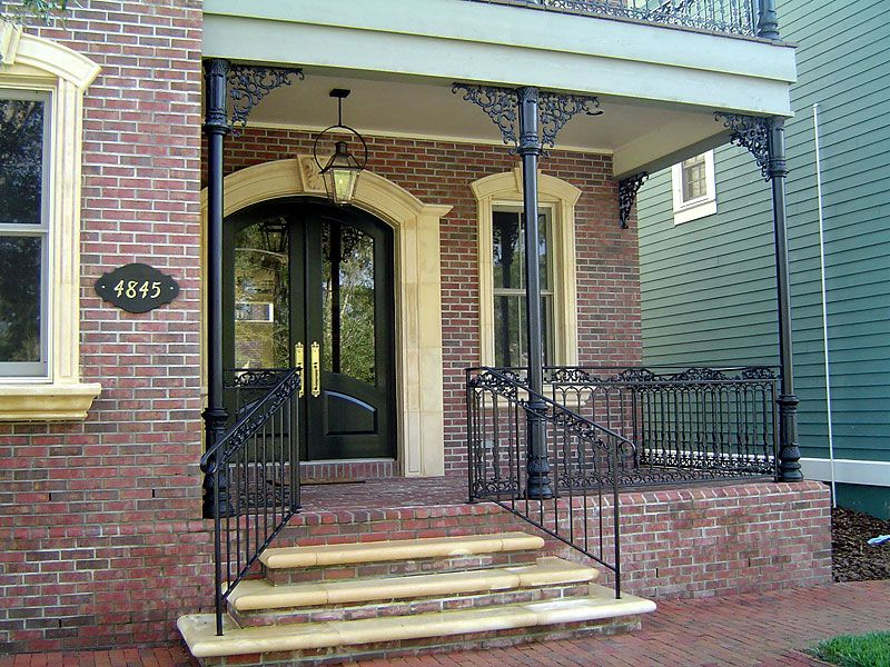 Ideas For Upgrade With Metal Porch Columns Extravagant Porch And Landscape Ideas Porch Columns Wrought Iron Porch Railings Outside Stair Railing