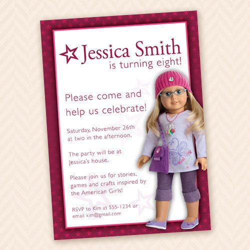 American Girl Themed Birthday Party Invitation Custom Dolls