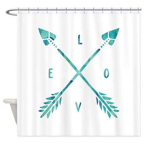 Turquoise Watercolor Love Arrows Shower Curtain By Heartlocked