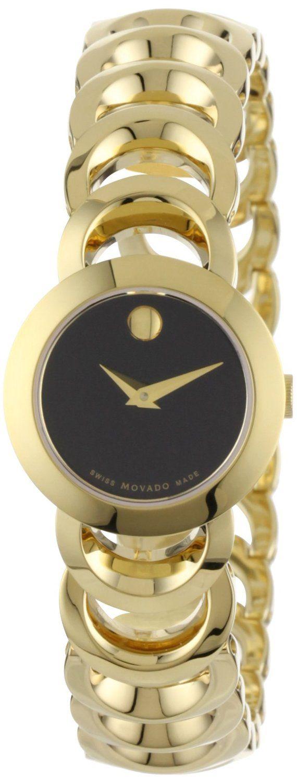 Women's : Movado Women's 0606253 Rondiro Mini Gold-Plated Black Museum Dial Watch