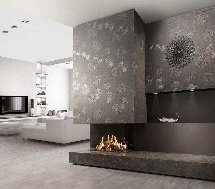 Moderner Kamin Gas Holz Glasbox Wohnzimmer Graue Tapeten  FAIRO ECO PRESTIGE 85