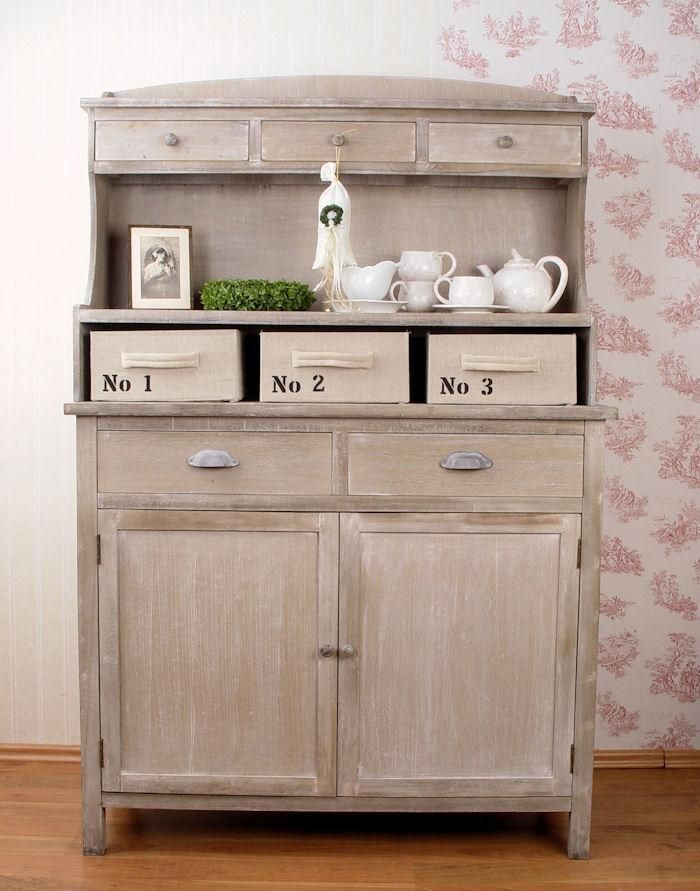 buffet haut en bois style shabby chic cottage commode bahut gris patine antique wardrobes. Black Bedroom Furniture Sets. Home Design Ideas