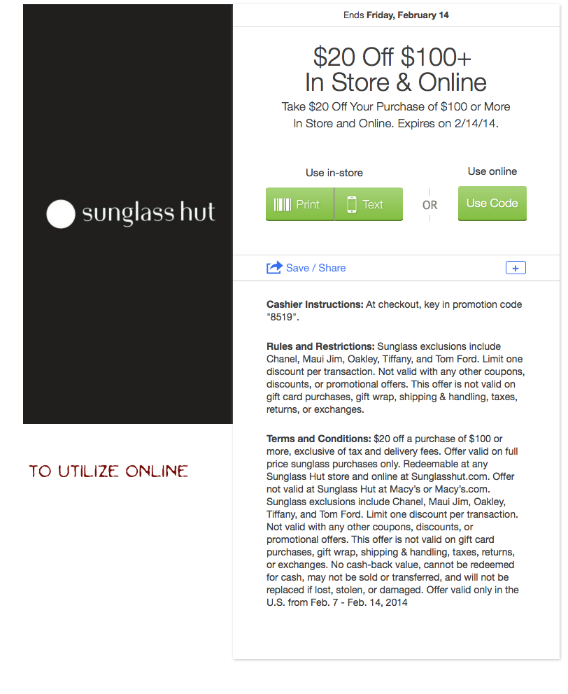 photograph regarding Sunglass Hut Printable Coupon known as $20.00 off $100.00 at Sungl Hut. (Within-Retail store or on-line