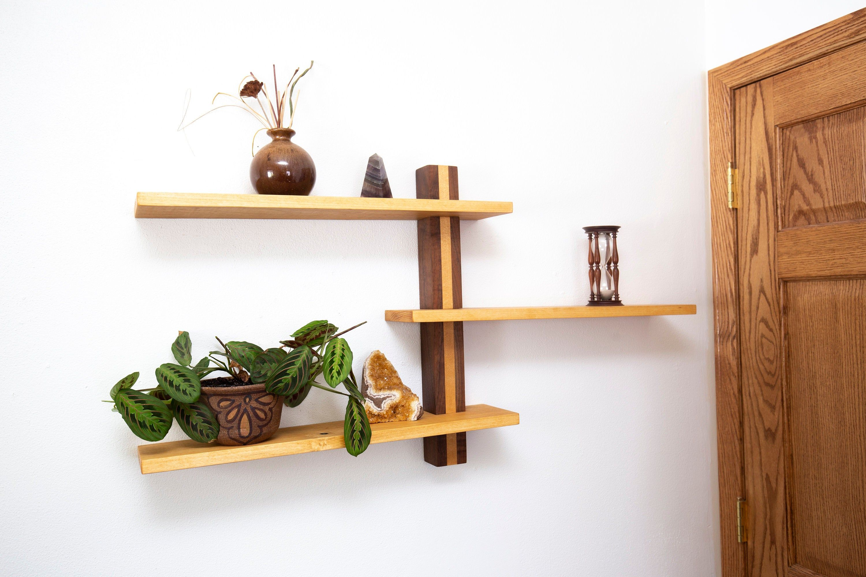 Three Tier Wood Cat Perch Shelves Mid Century Modern Decor Etsy In 2021 Modern Wall Shelf Geometric Shelves Art Shelves