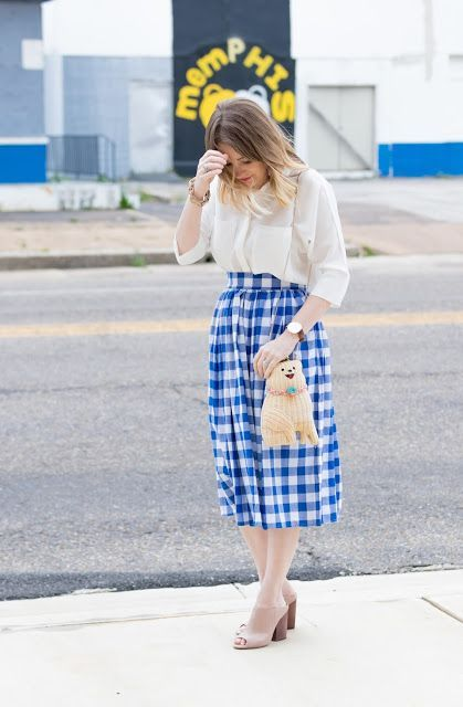 Shein Gingham Skirt Summer Look with Lisi Lerch Tassel Earrings – Pretty in Pink Megan Trendy Outfits