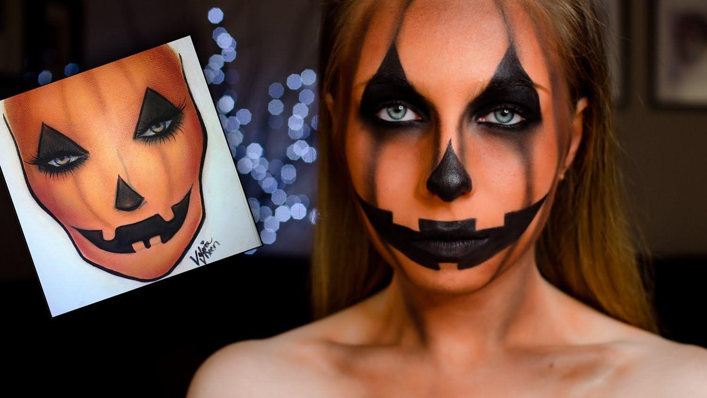 Pumpkin face paint tutorial Halloween pumpkin makeup