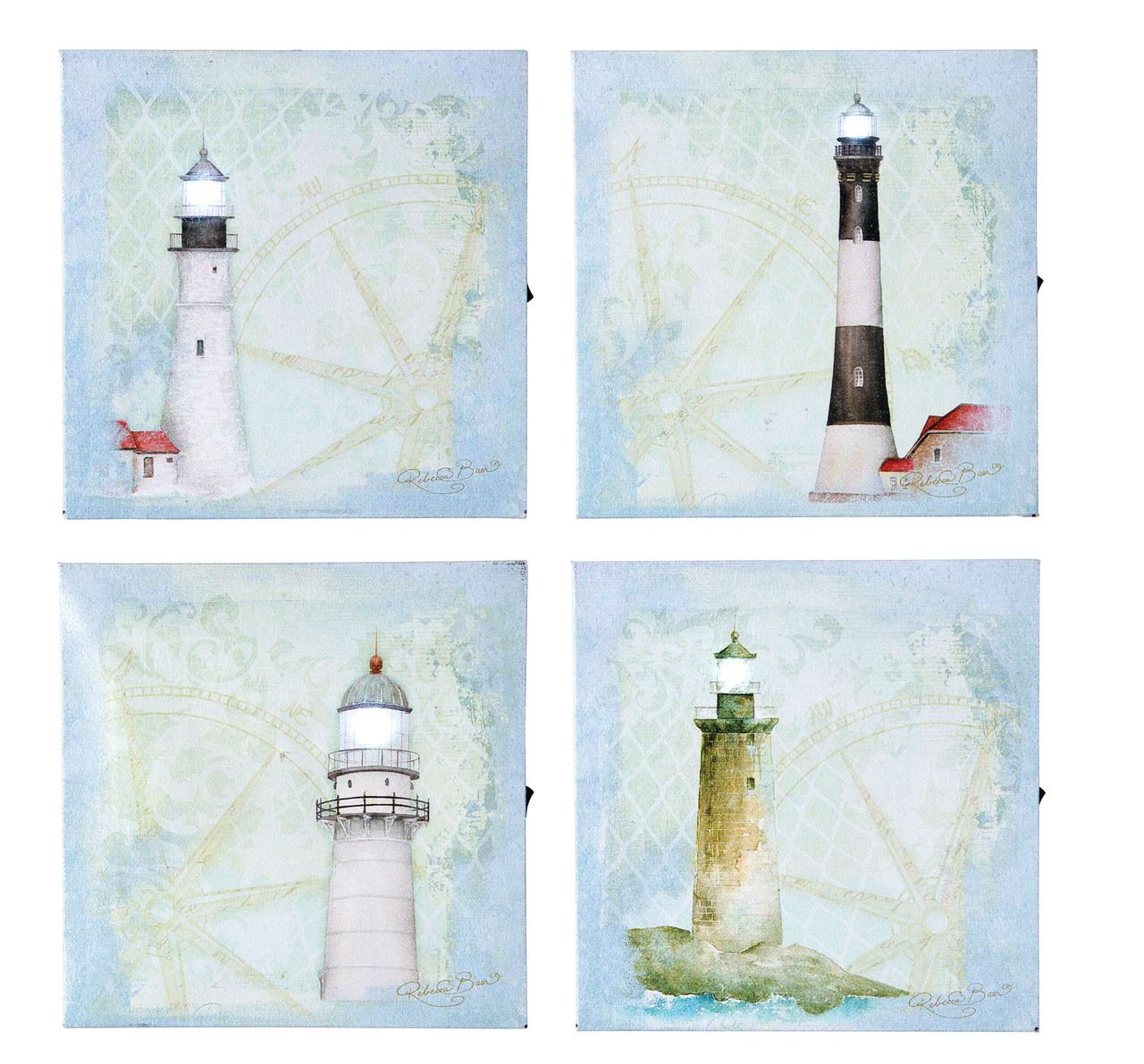 Light house prints, a set of four, on nautical map background.  Battery powered lights with 6 hour timer can light up the lights. Shelley B Home and Holiday.com