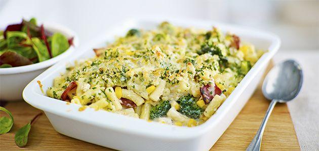 Broccoli, sweetcorn and  bacon macaroni cheese Recipe - Sainsbury's