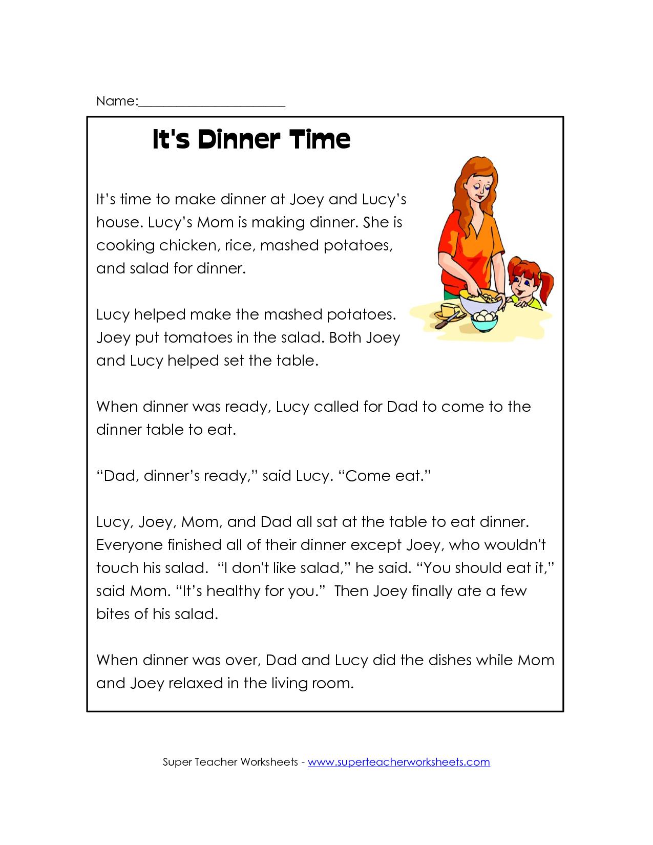 1st Grade Reading Worksheet   reading classroom or First Grade Readin…    Comprehension worksheets [ 1650 x 1275 Pixel ]