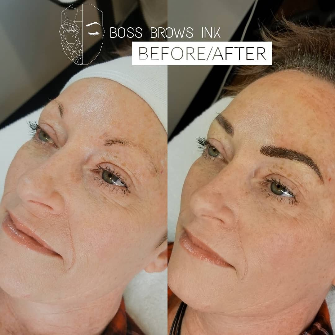 Before and after initial microblading procedure client