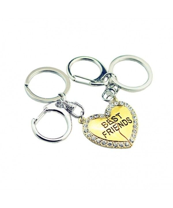 2 Pcs Best Friends Keychain Crystal BFF Lovers Engraved Broken Heart Couple  Keyring Set - Gold - C0182YUG9U4 f3c9f2f013