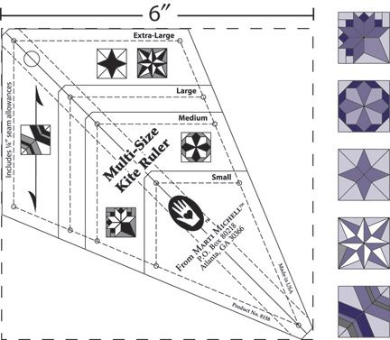 MultiSize Kite Ruler For Periwinkle Block And More  Patchwork