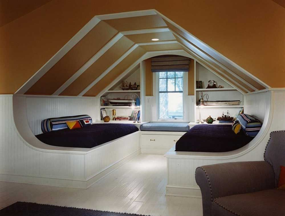 Bonus Room Design Ideas Part - 47: Best Design Of Room Under Roof With Window Seating And Shelves Also Daybed  Mattress With Beadboard