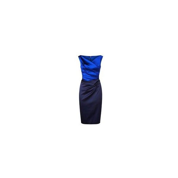 Talbot Runhof Gathered Satin Pencil Dress ($1,135) ❤ liked on Polyvore featuring dresses, evening party dresses, holiday party dresses, ruched cocktail dress, holiday cocktail dresses and blue evening dresses