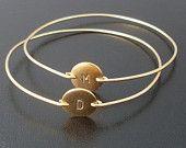 Personalized Custom Initial Bangle Bracelet - Gold, Custom Initial Jewelry, Personalized Bracelet, Personalized Initial Monogram Bracelet