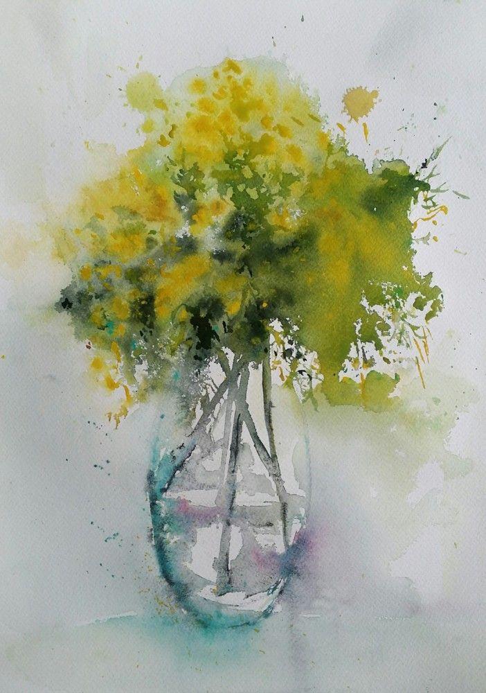 Le Mimosa De Decembre Peinture Fleurs Aquarelle Abstraite